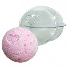 """Пластиковая форма для бомбочек """"Сфера средняя с сердцем"""""""