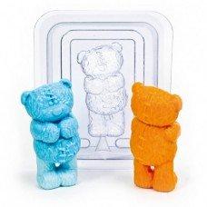"""Пластиковая форма """"Мишка 3Д с заплатками"""""""