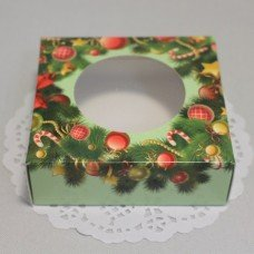 Коробка с окошком Зимняя Новогодняя 7,7х8см 101010