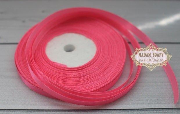 Лента атласная цвет розовый неон (бабина)