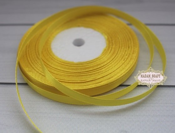 Лента атласная желтая (бабина)