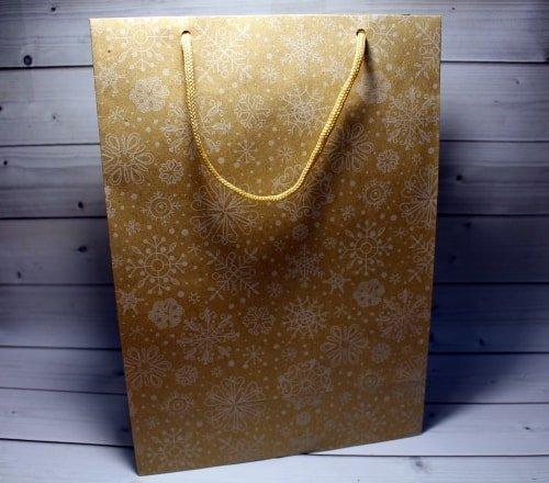 Пакет крафт Новогоднее Снежинки