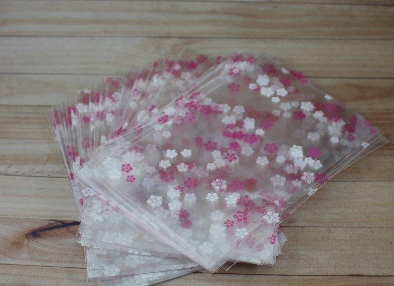 Пакет розовый цветочек 10*15