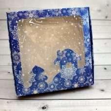 Коробка синяя Новый год домик