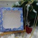 Коробка синяя Новый год окошко