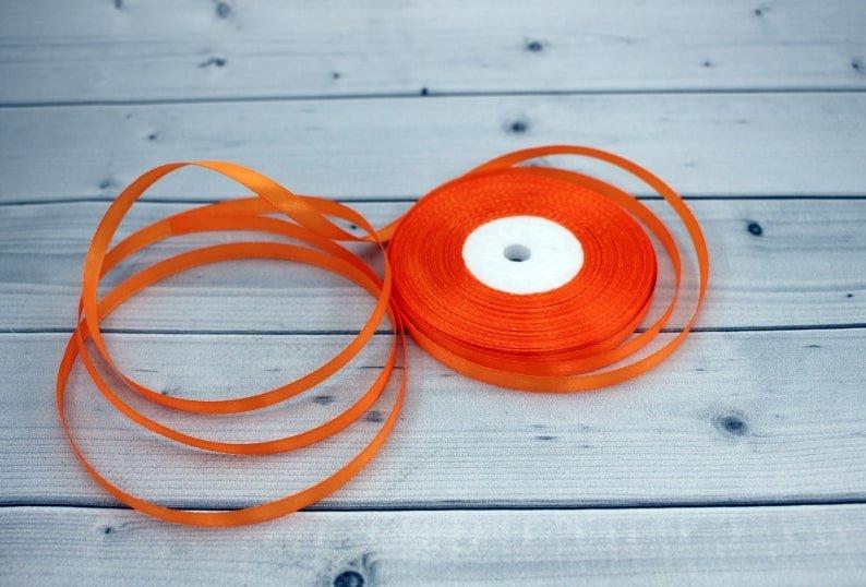 Лента атласная цвет оранжевый (бабина)