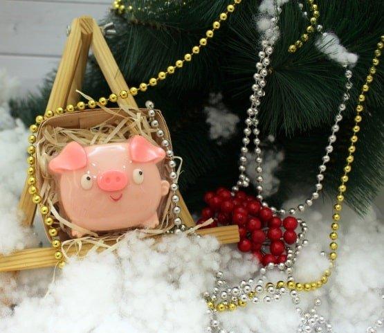Мыло Смешная свинка в коробке (шарик)