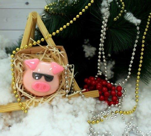 Свинка в очках в корзинке