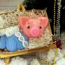 Набор Вязанная свинка, варежки