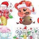 Водорастворимая бумага Свинки новогодние 2