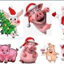 Водорастворимая бумага Свинки новогодние 1