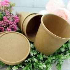 Картонное кашпо для букетов с крышкой