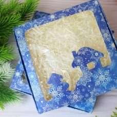 Коробка Новый год Домик 150х150х30 мм