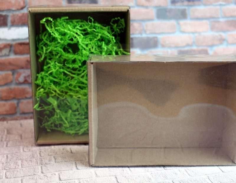 Коробка крафт 150*110*45 с крышкой прозрачной