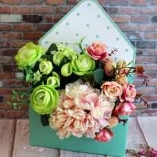 Конверт для цветов горошек мята