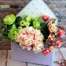 Конверт для цветов горошек лиловый