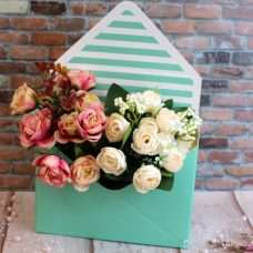 Конверт для цветов полосочка мята