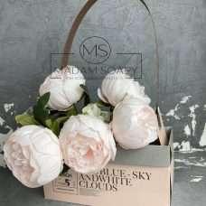 Сумка для цветов розово-серая 23х12х12 см