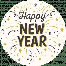 Наклейка Happy New Year конфетти